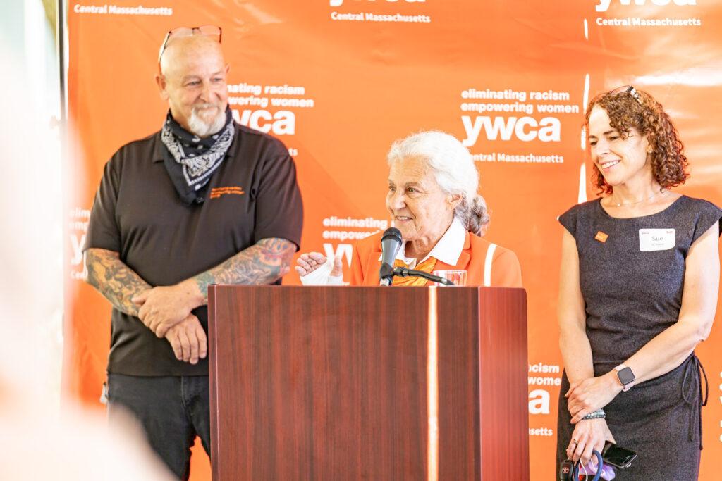 Linda speaking at June 23rd building dedication